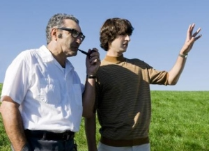 From left: Eugene Levy (as Max Yasgur) & Demetri Martin (as Elliot Tiber) in TAKING WOODSTOCK.